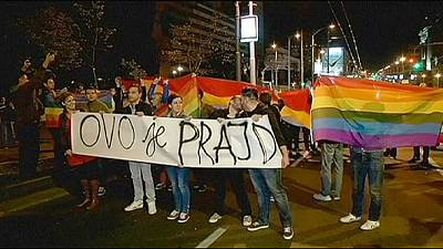 Gay rights activists in Serbia protest government ban on gay march