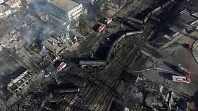 Widespread damage after train blast in Bulgaria