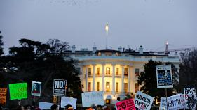 """Not our president!"" shout angry protesters in the US"