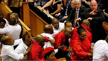 Chaos in South African Parliament as Jacob Zuma presents State of the Nation Address [no comment]