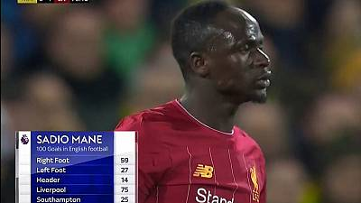 Mane scores his 100th goal in England as Liverpool beat Norwich
