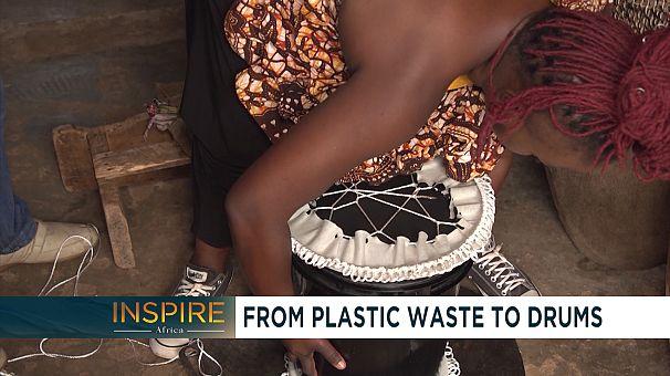 The Ugandan singer turning plastic waste into drums