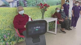 A nursing home in China uses robots to protect elderly from virus