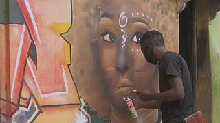 Nigerian artist uses graffiti to inspire