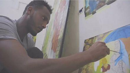Eritrean refugee in Libya finds solace in art