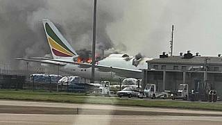 Ethiopian Airlines plane catches fire at Shanghai airport