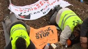 Protesters cause chaos to nuclear waste train trip