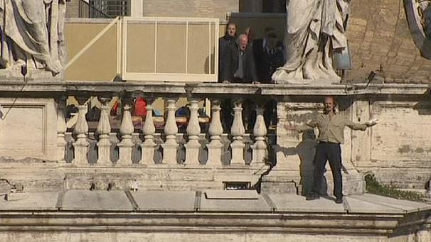 Protester climbs St. Peter's