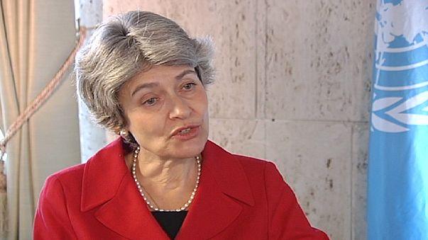 """ايرينا بوكوفا لليورونيوز :""""يؤسفنا الانتقاد الكبير الذي يوجه لنا بعد انضمام فلسطين للمنظمة """""""