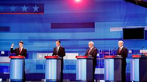 Republican candidates debate who's best placed to beat Obama