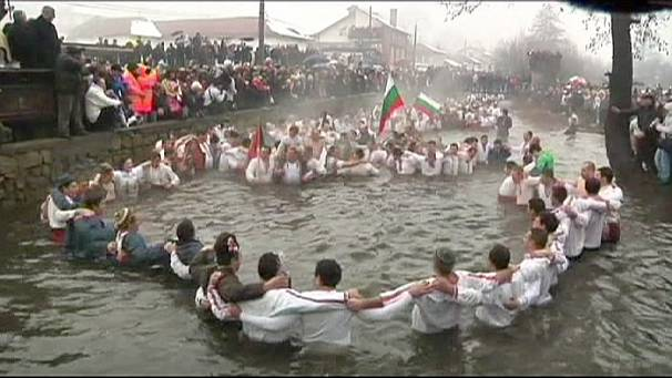 Icy plunge for Epiphany in Bulgaria