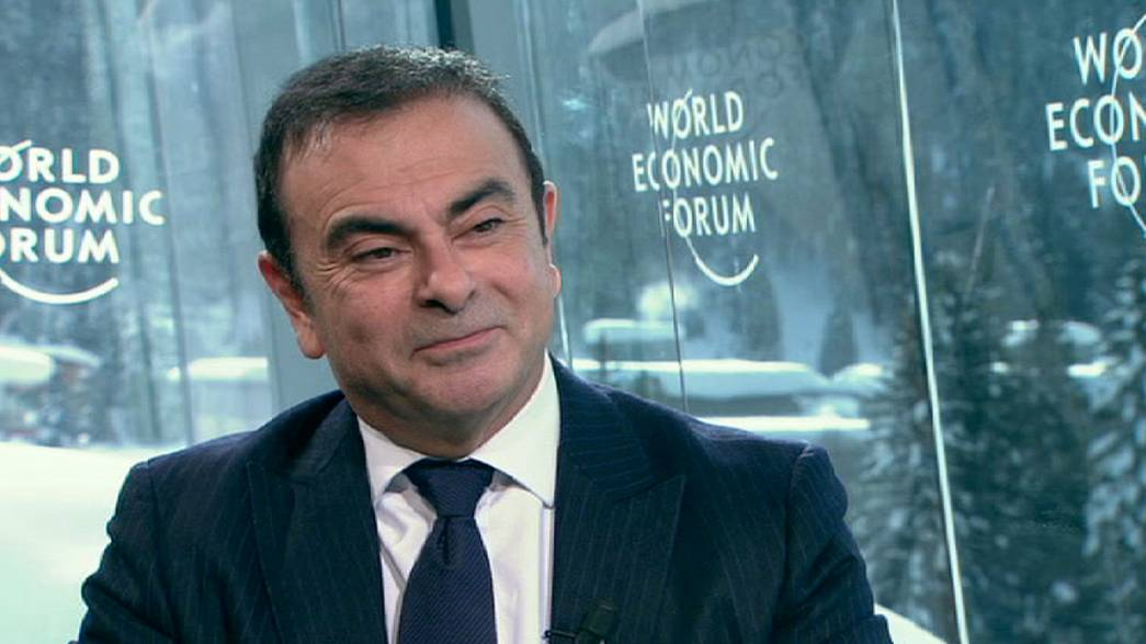 Ghosn notes pessimism in the Davos air