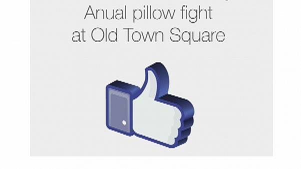 Annual pillow fight in Prague