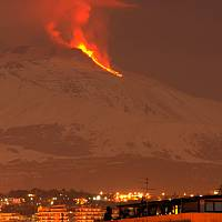 Mount Etna erupts on the snow