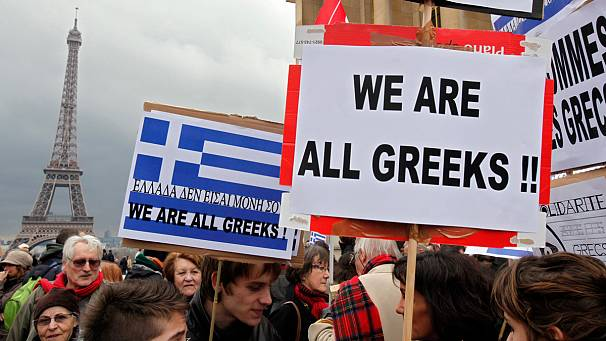 Paris: Solidarity with Greece demo