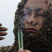 Beekeeper suits up in 33 kg coat of bees