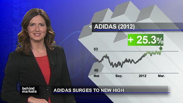 أسهم شركة أديداس للألبسة الرياضية تسجل مستويات قياسية في فرانكفورت