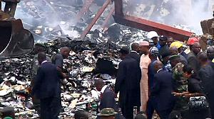 Nigerian president visits Lagos air crash site