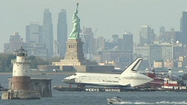 Space shuttle boldly floats