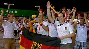 German fans celebrate win over the Netherlands