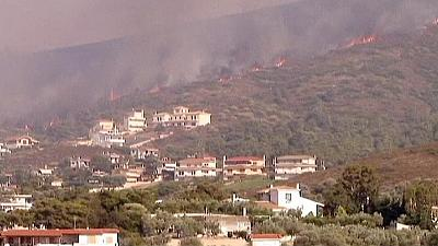 First summer wildfires rage in Greece