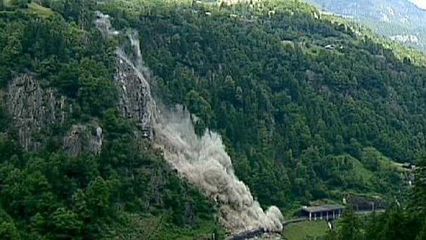 Swiss rail line blasted open