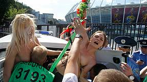 Femen protest against prostitution in Ukraine during Euro 2012