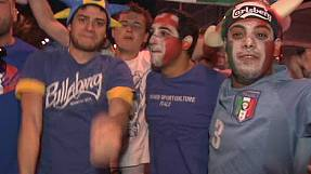 Italian football fans relish their win against England