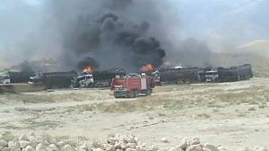 Bomb destroys NATO supply trucks in Afghanistan