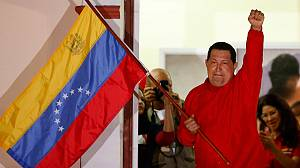 Venezuela's President Chavez celebrates re-election