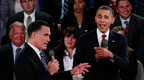 Obama goes on the offensive in presidential debate