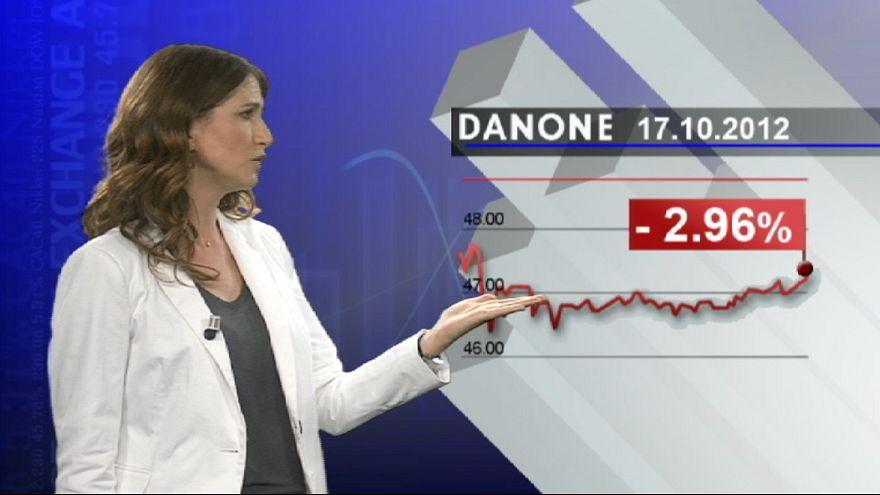 کاهش فروش محصولات دانون بدلیل بحران مالی اروپا
