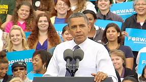 "Obama accuses his opponent of ""Romnesia"""