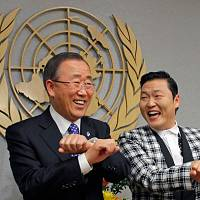 K-Pop's Psy teaches Ban Ki-moon 'Gangnam Style'