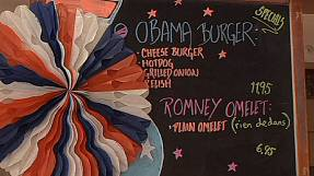 American diner in Paris 'calls it for Obama'