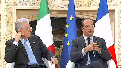 Hollande et Monti plaident en choeur pour la discipline et la croissance