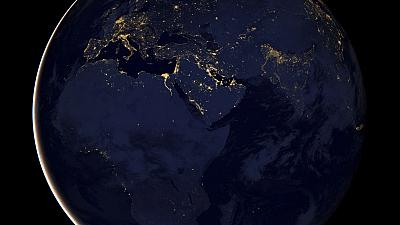 NASA satellite picture of Europe, Africa, and the Middle East by night