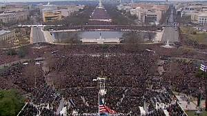 Jubilant crowds cheer on Barack Obama's public inauguration
