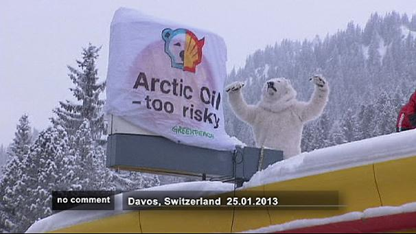 Greenpeace activists block petrol pump close to Davos