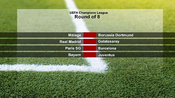 نتائج قرعة دور الثمانية لدوري أبطال أوروبا لكرة القدم