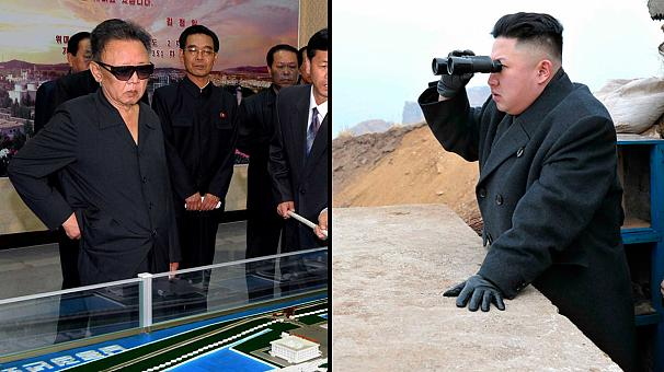 Like father, like son: Kim Jong-un looking at things