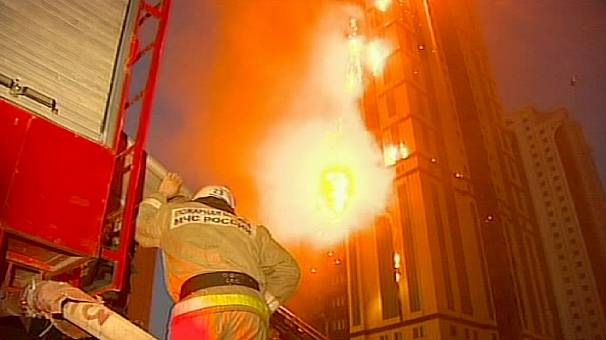 Brand new Grozny high rise goes up in flames