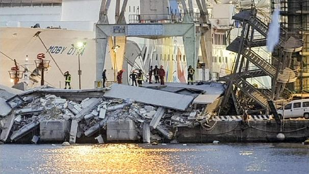 Search for missing port workers after Genoa ship collision