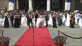 Nice day for a mass white wedding in Serbia
