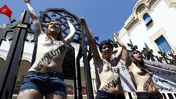 Femen activists arrested over topless protest in Tunisia