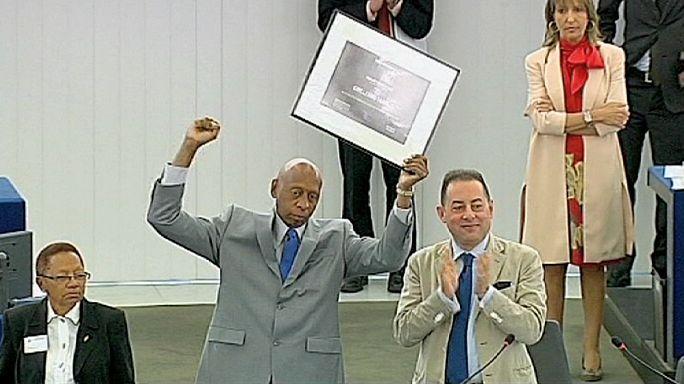 Guillermo Fariñas, au Parlement européen, pour recevoir son Prix Sakharov