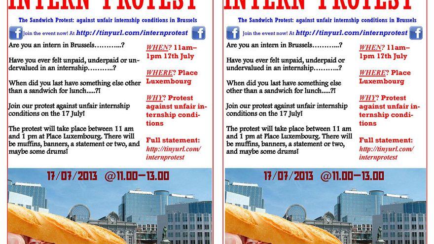 Sandwich-Protest: Brüsseler Praktikanten streiken