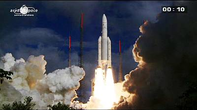 Ariane 5 rocket launches telecommunications and weather satellites