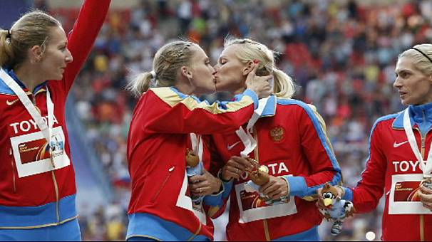 A kiss sparks controversy at the World Athletics Championships