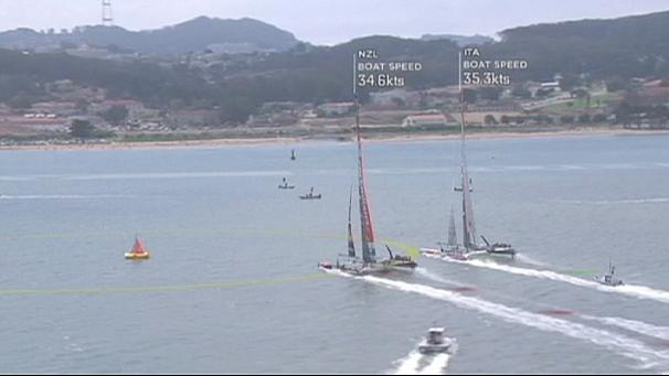 Emirates Team New Zealand cruise past Luna Rossa